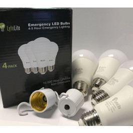 LyfeLite Emergency LED Bulbs - 4 Pack 450 Lumens - Soft White